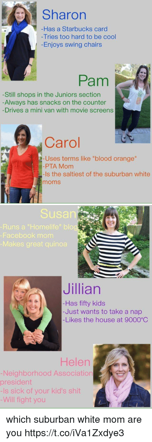 "Facebook, Moms, and Shit: Sharon  Has a Starbucks card  -Tries too hard to be cool  Enjoys swing chairs  Pam  -Still shops in the Juniors section  Always has snacks on the counter  -Drives a mini van with movie screens  Carol C  -Uses terms like ""blood orange""  -PTA Mom  -Is the saltiest of the suburban white  moms   Susan  Runs a ""Homelife"" blo  Facebook monm  Makes great quinoa  Jillian  Has fifty kids  -Just wants to take a nap  -Likes the house at 9000°C  Helen  Neighborhood Association  president  -Is sick of your kid's shit  Will fight you which suburban white mom are you https://t.co/iVa1Zxdye3"