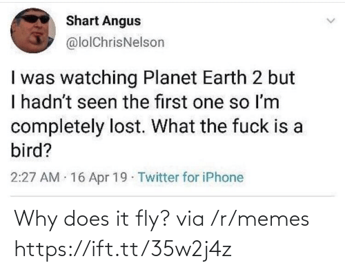 angus: Shart Angus  @lolChrisNelson  I was watching Planet Earth 2 but  I hadn't seen the first one so Im  completely lost. What the fuck is a  bird?  2:27 AM 16 Apr 19 Twitter for iPhone Why does it fly? via /r/memes https://ift.tt/35w2j4z