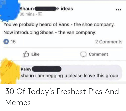 Vans: Shaun  30 mins T  ideas  You've probably heard of Vans the shoe company.  Now introducing Shoes the van company.  15  2 Comments  Like  Comment  Kaley  shaun i am begging u please leave this group 30 Of Today's Freshest Pics And Memes