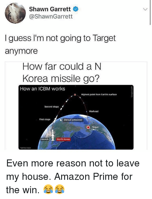 Amazon, Amazon Prime, and Memes: Shawn Garrett  @ShawnGarrett  I guess I'm not going to Target  anymore  How far could a N  Korea missile go?  How an ICBM works  O  Highest point from Earth's surface  Second stage  Warhead  First stage  Shroud jettisoned  Target  North Korea  Not to scale Even more reason not to leave my house. Amazon Prime for the win. 😂😂