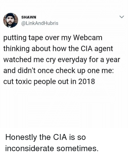 Toxic People: SHAWN  @LinkAndHubris  putting tape over my Webcam  thinking about how the CIA agent  watched me cry everyday for a year  and didn't once check up one me:  cut toxic people out in 2018 Honestly the CIA is so inconsiderate sometimes.
