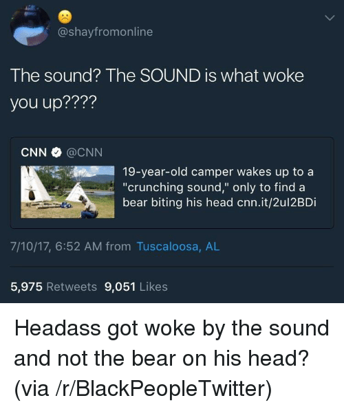 "Camper: @shayfromonline  The sound? The SOUND is what woke  you up????  CNN @CNN  19-year-old camper wakes up to a  ""crunching sound,"" only to find a  bear biting his head cnn.it/2ul2BDi  7/10/17, 6:52 AM from Tuscaloosa, AL  5,975 Retweets 9,051 Likes <p>Headass got woke by the sound and not the bear on his head? (via /r/BlackPeopleTwitter)</p>"