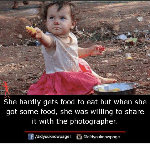 Food, Memes, and 🤖: She hardly gets food to eat but when she  got some food, she was willing to share  it with the photographer.  /d.dyouknowpagel O @didyouknowpage