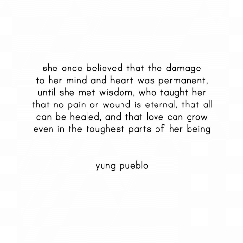 Yung: she once believed that the damage  to her mind and heart was permanent,  until she met wisdom, who taught her  that no  can be healed, and that love can grow  even in the toughest parts of her being  pain or wound is eternal, that all  yung pueblo