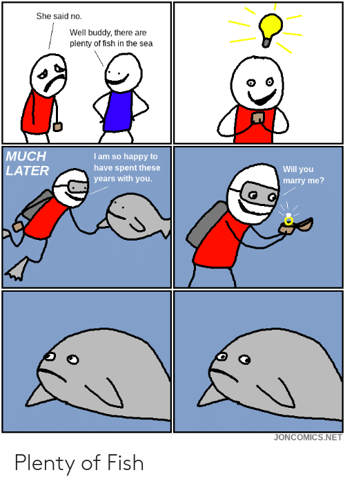 Plenty of Fish: She said no.  Well buddy, there are  plenty of fish in the sea  MUCH  LATER  I am so happy to  have spent these  years with you  Will you  marry me?  JONCOMICS.NET Plenty of Fish