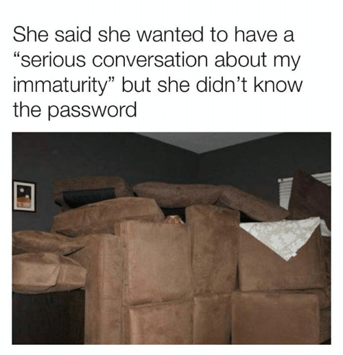 """Immaturity: She said she wanted to have a  """"serious conversation about my  immaturity"""" but she didn't know  the password"""