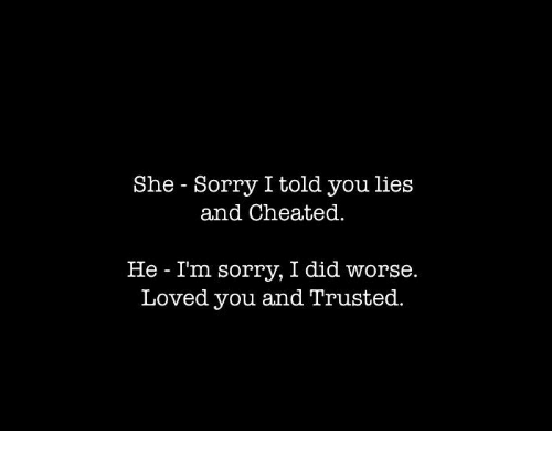 cheated: She Sorry I told you lies  and Cheated.  He - Im sorry, I did worse.  Loved you and Trusted