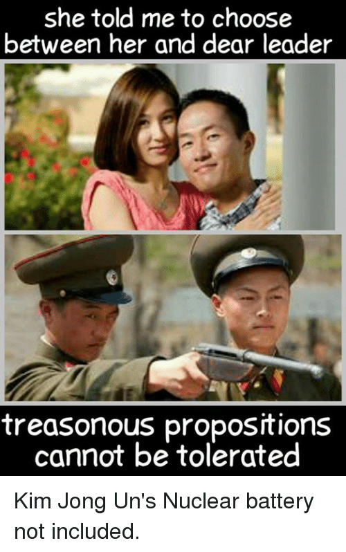 proposition: she told me to choose  between her and dear leader  treasonous propositions  cannot be tolerated Kim Jong Un's Nuclear battery not included.