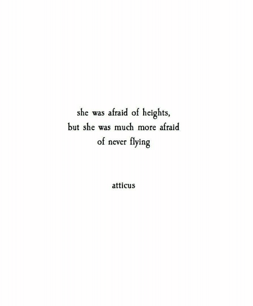 Afraid Of Heights: she was afraid of heights,  but she was much more afraid  of never flying  atticus