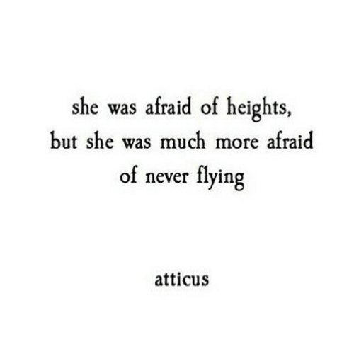 Heights: she was afraid of heights,  but she was much more afraid  of never flying  atticus