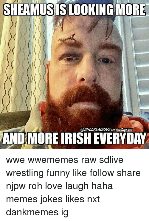 Funny, Instagram, and Irish: SHEAMUSIS LOOKING MORE  @STLREALTOUS on Instagram  on insiagram  ANDMORE IRISH EVERYDAY wwe wwememes raw sdlive wrestling funny like follow share njpw roh love laugh haha memes jokes likes nxt dankmemes ig
