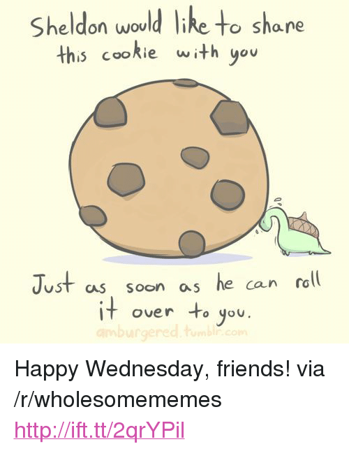 """happy wednesday: Sheldon would like to share  this cookie with you  Just as soon as he can rall  it over to you.  uST  CAS SOon a <p>Happy Wednesday, friends! via /r/wholesomememes <a href=""""http://ift.tt/2qrYPil"""">http://ift.tt/2qrYPil</a></p>"""