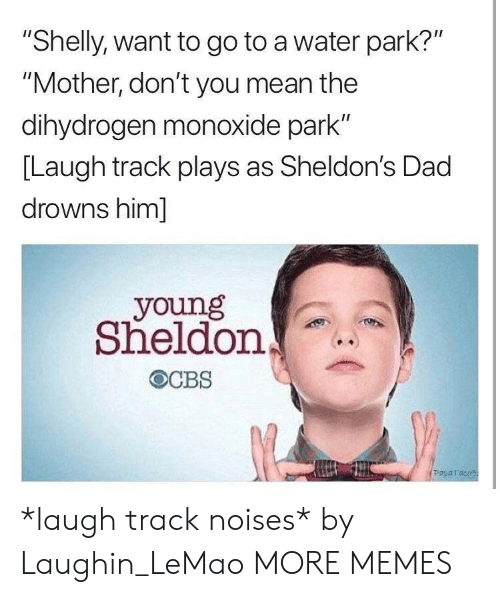 """Drowns: """"Shelly, want to go to a water park?""""  """"Mother, don't you mean the  dihydrogen monoxide park""""  [Laugh track plays as Sheldon's Dad  drowns him]  young  Sheldon  Paparaco *laugh track noises* by Laughin_LeMao MORE MEMES"""