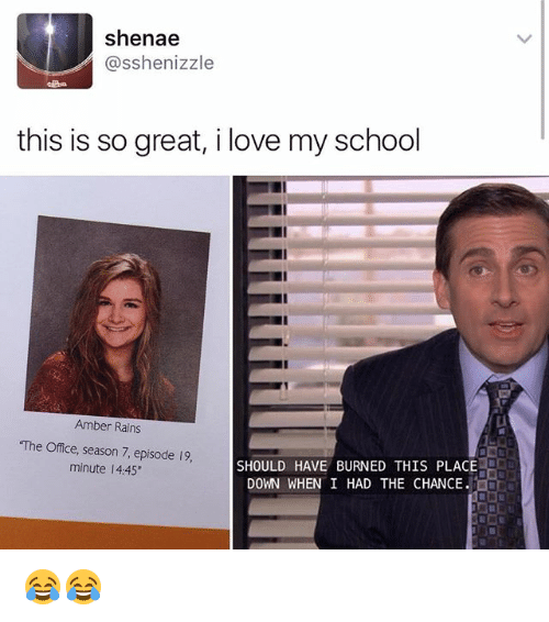 """Love, Memes, and School: Shenae  asshenizzle  this is so great, i love my school  Amber Rains  """"The Office, season 7, episode 19.  SHOULD HAVE BURNED THIS PLACE  minute l 4:45""""  DOWN WHEN I HAD THE CHANCE. 😂😂"""