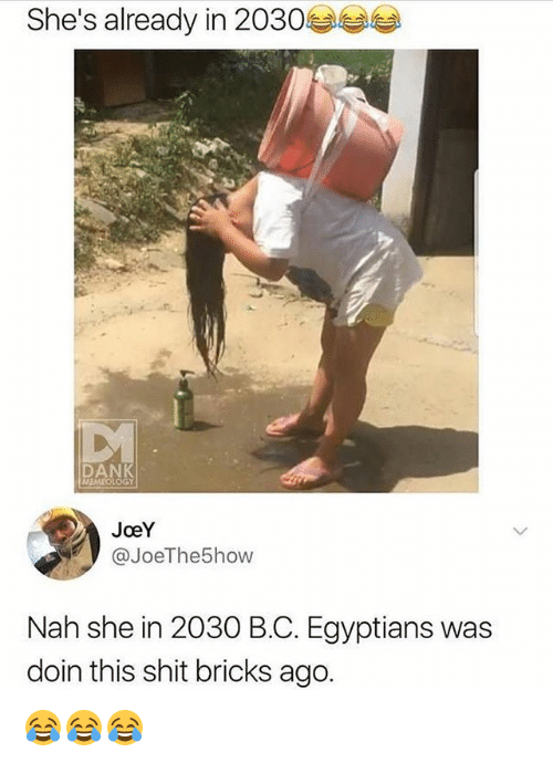 Dank, Memes, and Shit: She's already in 2030  DANK  MEMEOLOGY  JoeY  @JoeThe5how  Nah she in 2030 B.C. Egyptians was  doin this shit bricks ago. 😂😂😂