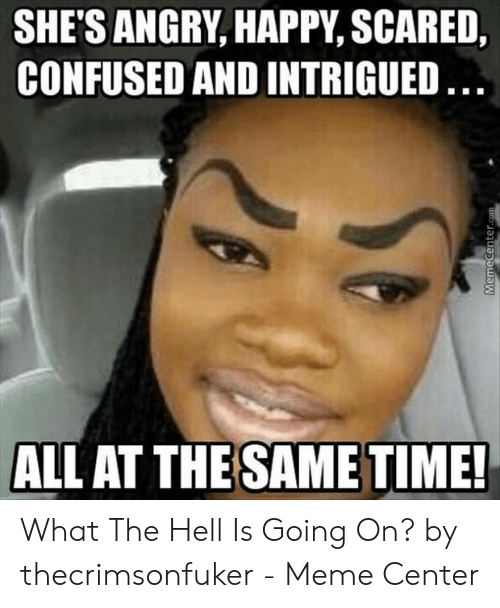 What The Hell Meme: SHE'S ANGRY, HAPPY, SCARED,  CONFUSED AND INTRIGUED  ALL AT THE SAMET What The Hell Is Going On? by thecrimsonfuker - Meme Center