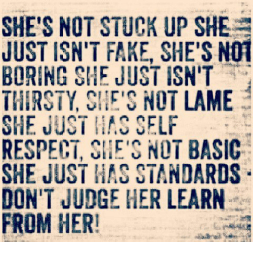 Not Lame: SHE'S NOT STUCK UP SHE  JUST ISN'T FAKE, SHE'S NOT  BORING SHE JUST ISN'T  THIRSTY SHE'S NOT LAME  SHE JUST SELF  RESPECT, SHE'S NOT BASIC  SHE JUST HAS STANDARDS  DON'T JUDGE HER LEARN  FROM HER!