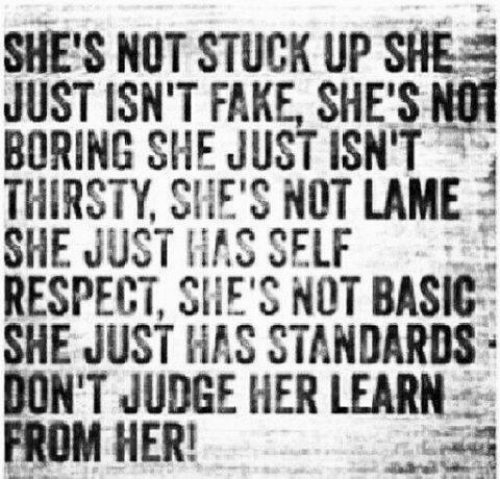 Not Lame: SHE'S NOT STUCK UP SHEs  JUST ISN'T FAKE, SHE'S N01  BORING SHE JUST ISN'T  THIRSTY SHE'S NOT LAME  SHE JUST HAS SELF  RESPECT, SHE'S NOT BASIC-a  SHE JUST HAS STANDARDS  DON'T JUDGE HER LEARN  FROM HER!