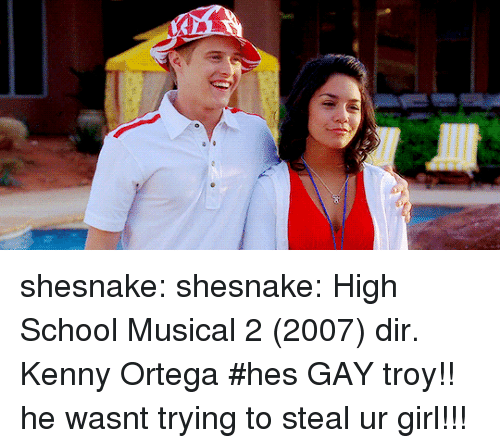 High School Musical: shesnake: shesnake: High School Musical 2 (2007) dir. Kenny Ortega   #hes GAY troy!! he wasnt trying to steal ur girl!!!