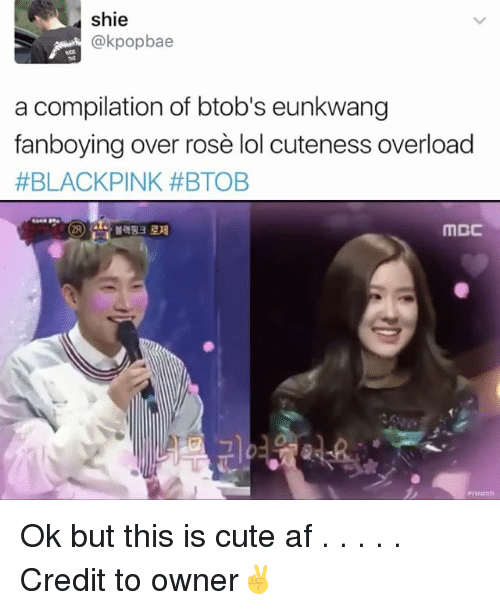 Memes, 🤖, and Afs: shie  @kpopbae  a compilation of btob's eunkwang  fanboying over rose lol cuteness overload  #BLACK PINK #BTOB  MCC Ok but this is cute af . . . . . Credit to owner✌