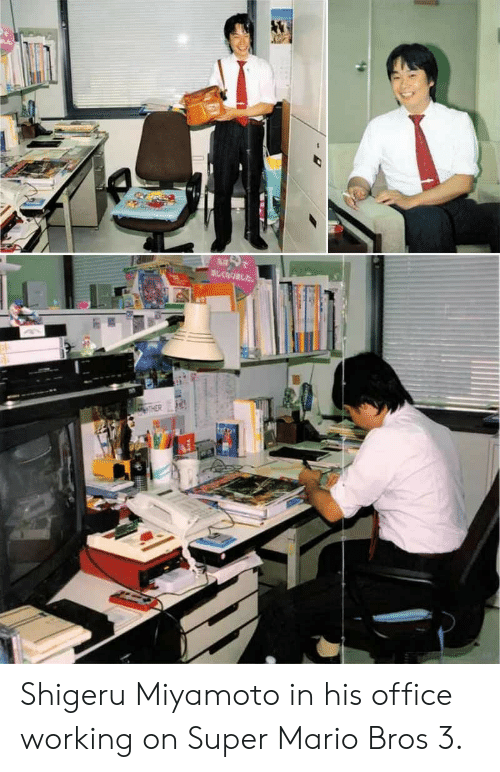 Super Mario: Shigeru Miyamoto in his office working on Super Mario Bros 3.