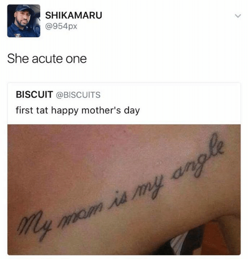Mother's Day, Happy, and Happy Mothers Day: SHIKAMARU  (a 954px  She acute one  BISCUIT  @BISCUITS  first tat happy mother's day