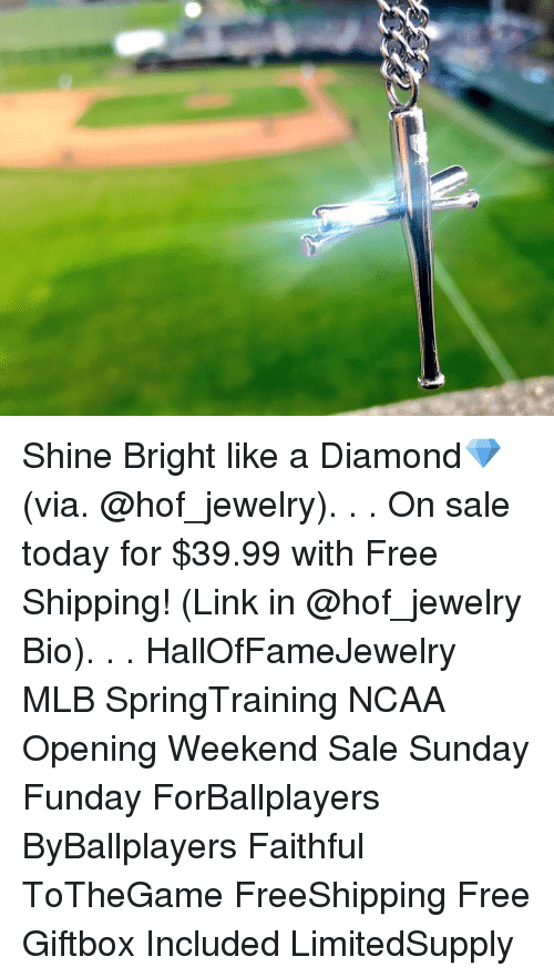 Shine Bright Like A Diamond: Shine Bright like a Diamond💎 (via. @hof_jewelry). . . On sale today for $39.99 with Free Shipping! (Link in @hof_jewelry Bio). . . HallOfFameJewelry MLB SpringTraining NCAA Opening Weekend Sale Sunday Funday ForBallplayers ByBallplayers Faithful ToTheGame FreeShipping Free Giftbox Included LimitedSupply