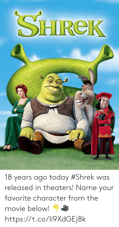 Favorite Character: SHIREk 18 years ago today #Shrek was released in theaters! Name your favorite character from the movie below! 👇🎥 https://t.co/Ii9XdGEj8k