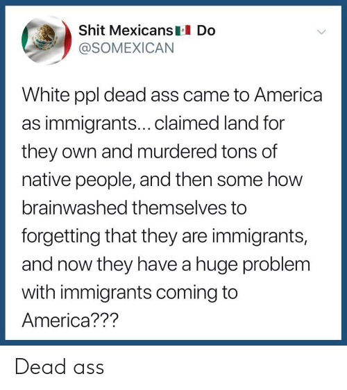 America, White, and Coming to America: Shit Mexicans Do  @SOMEXICAN  White ppl dead ass came to America  as immigrants...claimed land for  they own and murdered tons of  native people, and then some how  brainwashed themselves to  forgetting that they are immigrants,  and now they have a huge problem  with immigrants coming to  America??? Dead ass