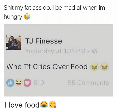 Fat Ass, Memes, and 🤖: Shit my fat ass do. Ibe mad af when im  hungry  TJ Finesse  Yesterday at 1:11 PM 3  Who Tf Cries Over Food  510  55 Comments I love food😂😋
