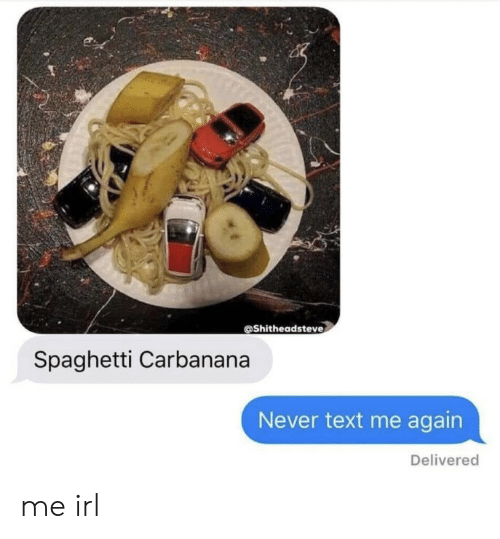 text me: @Shitheadsteve  Spaghetti Carbanana  Never text me again  Delivered me irl