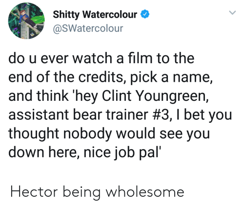 Clint: Shitty Watercolour  @SWatercolour  do u ever watch a film to the  end of the credits, pick a name  and think 'hey Clint Youngreen,  assistant bear trainer #3 , I bet you  thought nobody would see you  down here, nice job pal' Hector being wholesome