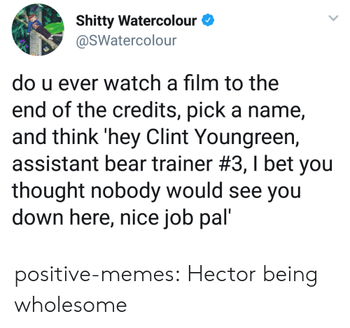hector: Shitty WatercolourO  @SWatercolour  do u ever watch a film to the  end of the credits, pick a name,  and think 'hey Clint Youngreern,  assistant bear trainer #3, I bet you  thought nobody would see you  down here, nice job pal' positive-memes:  Hector being wholesome