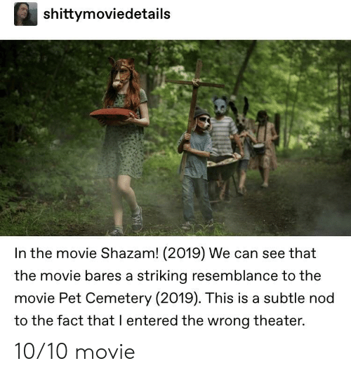 Shazam: shittymoviedetails  In the movie Shazam! (2019) We can see that  the movie bares a striking resemblance to the  movie Pet Cemetery (2019). This is a subtle nod  to the fact that I entered the wrong theater. 10/10 movie
