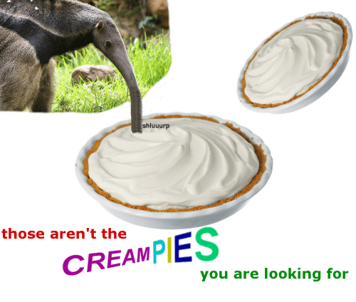 Creampies: shluuurp  those aren't the  CREAMPIES  you are looking for