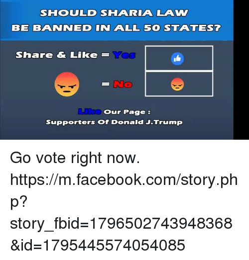 Voting Rights: SHOOULD SHAA RIAA LAW  BE BAANINEID IN AALL 5 STAA TEST  Share & Like  Our Page  Supporters of Donald J-Trump Go vote right now. https://m.facebook.com/story.php?story_fbid=1796502743948368&id=1795445574054085