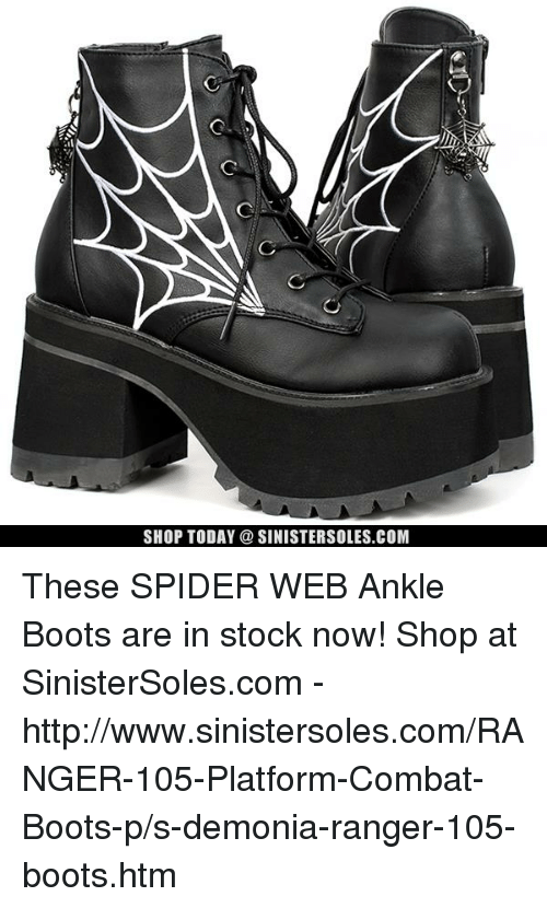 Spider Webbed: SHOP TODAY a SINISTERSOLES.COM These SPIDER WEB Ankle Boots are in stock now! Shop at SinisterSoles.com - http://www.sinistersoles.com/RANGER-105-Platform-Combat-Boots-p/s-demonia-ranger-105-boots.htm