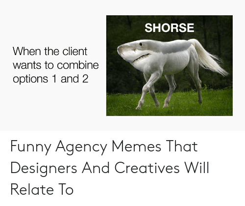 Agency Memes: SHORSE  When the client  wants to combine  options 1 and 2 Funny Agency Memes That Designers And Creatives Will Relate To