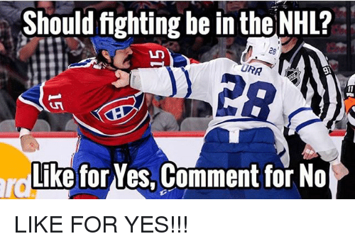 Memes, National Hockey League (NHL), and 🤖: Should fighting be in the NHL?  UMA  Like for Yes. Comment for No LIKE FOR YES!!!