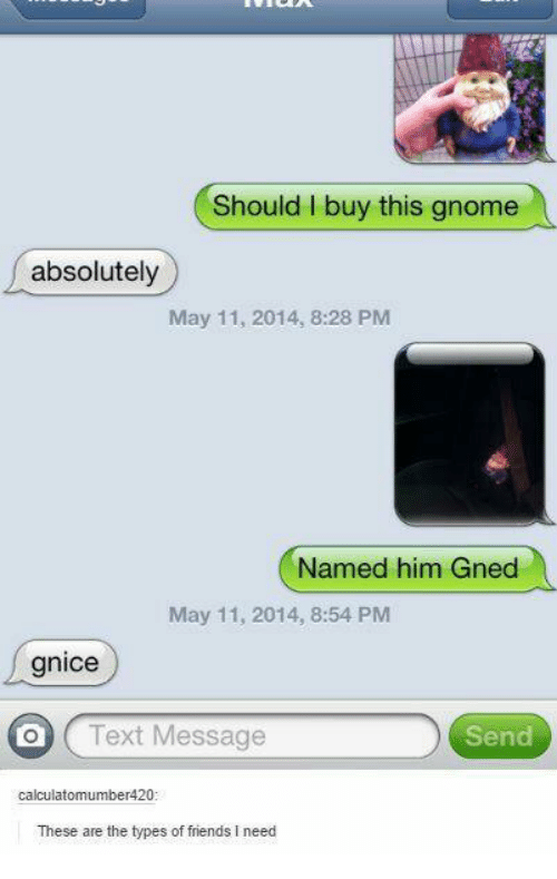 Friends, Text, and Gnome: Should I buy this gnome  absolutely  May 11, 2014, 8:28 PM  Named him Gned  May 11, 2014, 8:54 PM  gnice  O Text Message  Send  calculatomumber420  These are the types of friends I need