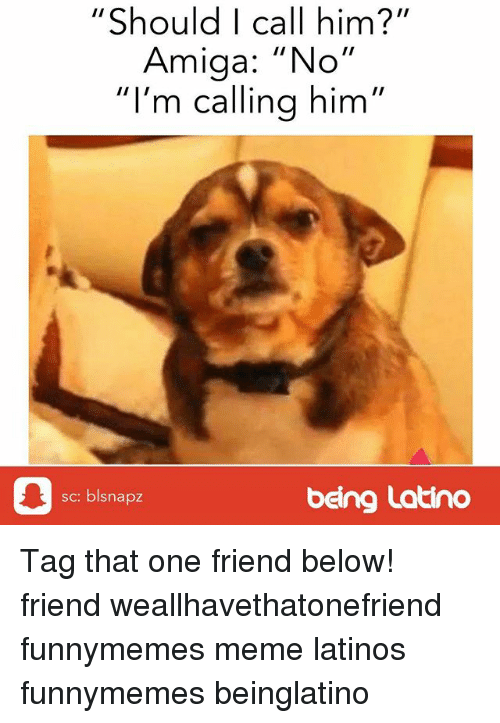 "Latinos, Meme, and Memes: ""Should I call him?""  Amiga: ""No""  I'm calling him  sc: blsnapz  being Latino Tag that one friend below! friend weallhavethatonefriend funnymemes meme latinos funnymemes beinglatino"