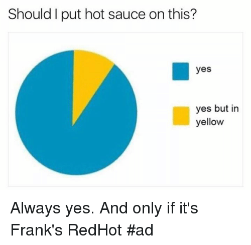 franks: Should I put hot sauce on this?  yes  yes but in  yellow Always yes. And only if it's Frank's RedHot  #ad