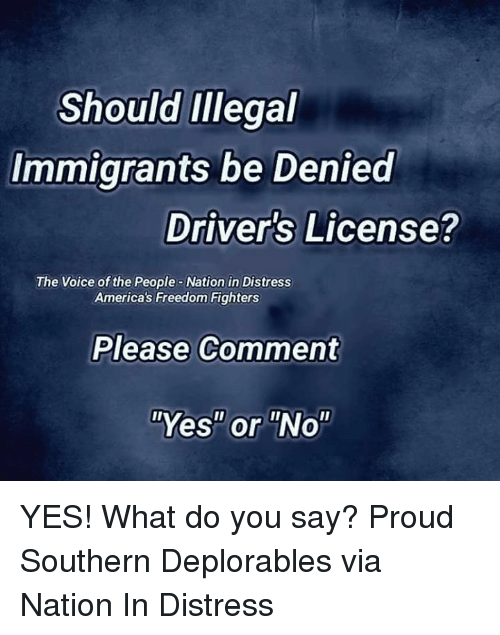 "Deplorables: Should Illegal  Immigrants be Denied  Driver's License?  The Voice of the People-Nation in Distress  America's Freedom Fighters  Please Comment  ""Yes"" or ""No"" YES! What do you say? Proud Southern Deplorables via Nation In Distress"