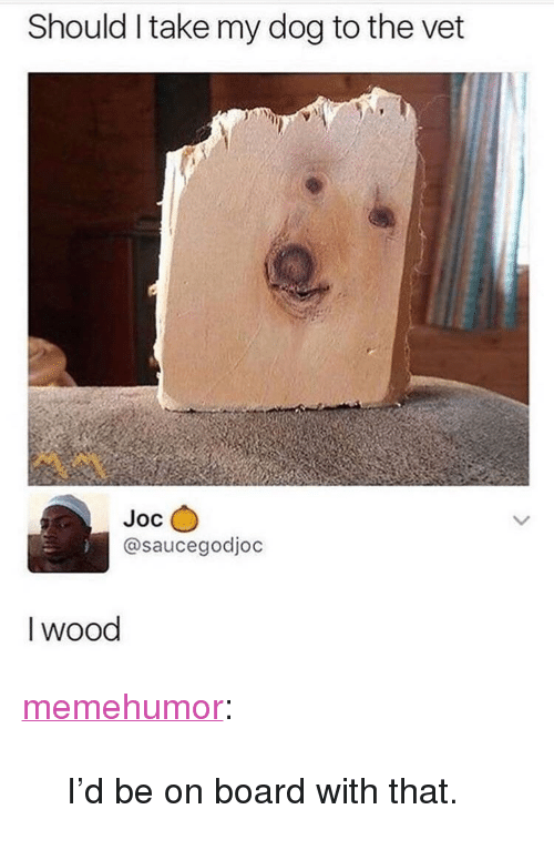 """Tumblr, Blog, and Http: Should Itake my dog to the vet  Joc  @saucegodjoc  I wood <p><a href=""""http://memehumor.net/post/172707703124/id-be-on-board-with-that"""" class=""""tumblr_blog"""">memehumor</a>:</p>  <blockquote><p>I'd be on board with that.</p></blockquote>"""