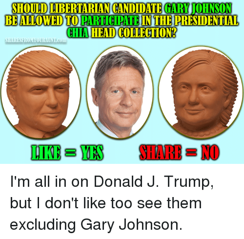 Libertarian: SHOULD LIBERTARIAN CANDIDATE  GARY JOHNSON  BE ALLOWED TO  PARTICIPATE  CHAHEADCOLLECTION?  i H  SHARE NO  DIKE BYES I'm all in on Donald J. Trump, but I don't like too see them excluding Gary Johnson.