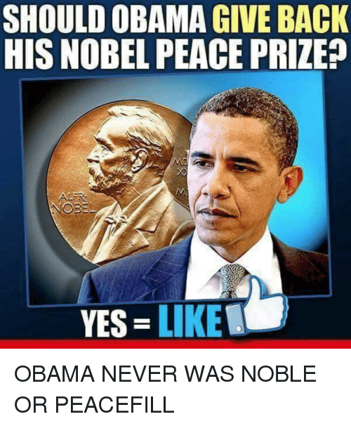 Obama, Never, and Peace: SHOULD OBAMA GIVE BACK  HIS NOBEL PEACE PRIZE?  YES LIKE