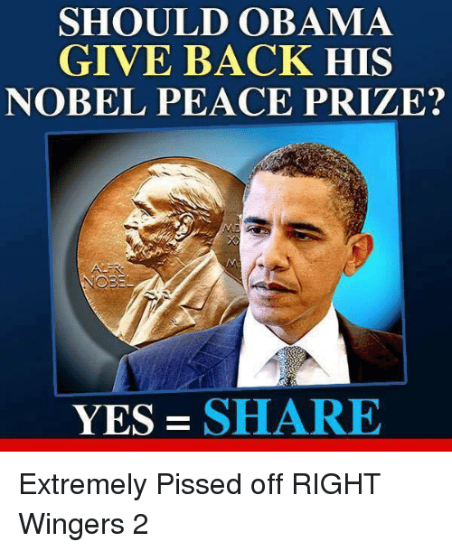 Obama, Peace, and Back: SHOULD OBAMA  GIVE BACK HIS  NOBEL PEACE PRIZE?  YES-SHARE Extremely Pissed off RIGHT Wingers 2
