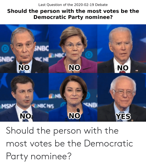 Democratic Party: Should the person with the most votes be the Democratic Party nominee?