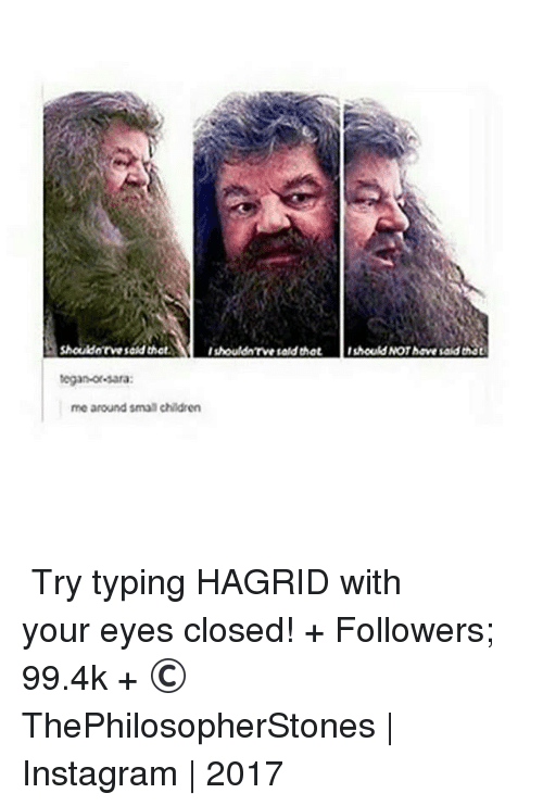 Your: Shouldarve sad that.  Ishouldn'rvesald that 1should NOT have said Dhat  tegan-or-sara:  me around smalchildren ⠀⠀⠀⠀↡ Try typing HAGRID with your eyes closed! + Followers; 99.4k + © ThePhilosopherStones | Instagram | 2017