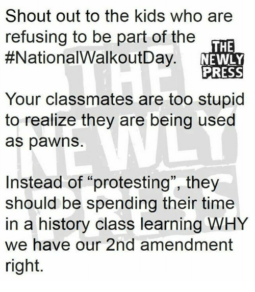"Memes, History, and Kids: Shout out to the kids who are  refusing to be part of the  #NationalWalkoutDay  THE  NEWLY  PRESS  Your classmates are too stupid  to realize they are being used  as pawns  Instead of ""protesting"", they  should be spending their time  in a history class learning WHY  we have our 2nd amendment  right."